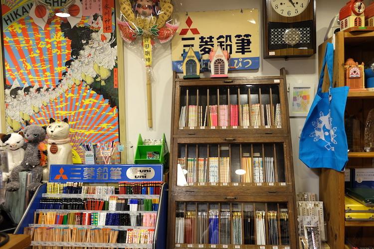 ぷんぷく堂 本八幡 文具店 店内 鉛筆